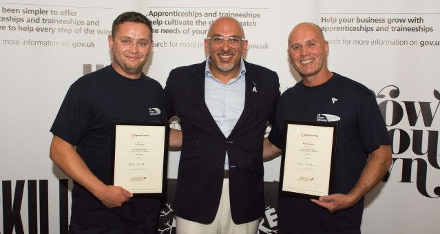 Lee Shannon (left), Mick Shannon (right) of UK Power Networks with Nadhim Zahawi MP (centre)