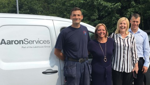 Aaron Services' Dave Spicer with his colleagues (second right) Faye Henderson, Safety, Health, Environment & Quality Manager, Jon Posey, Commercial Director (right) and Energy & Utility Skills' Solutions Manager, Lucy Ritchie.