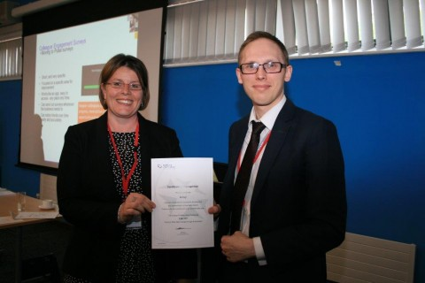 Kate Davies, Chief Operating Officer at Energy & Utility Skills, presenting a recognition award to Amey, at the recent Skills Accord Best Practice Workshop. It was collected by Amey's Sam Atherton.